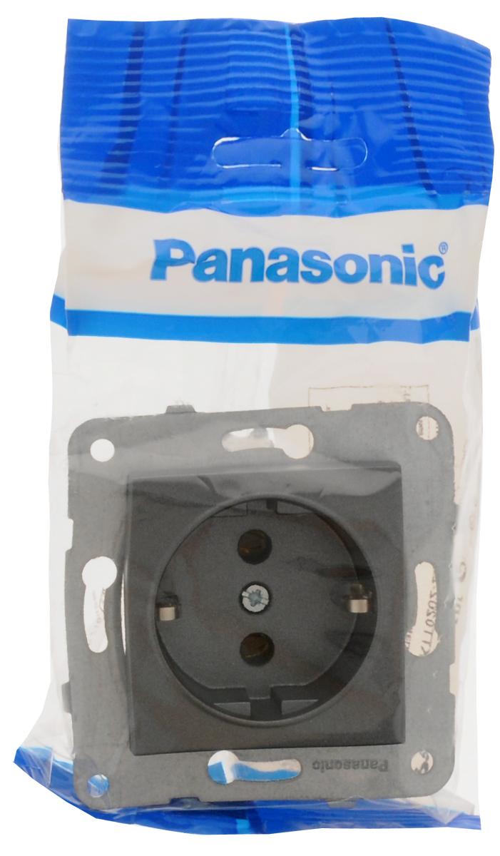 Фото - Розетка Panasonic Karre Plus, одинарная, с заземлением, цвет: темно-серый, 16 А. 54860 розетка panasonic karre plus одинарная с заземлением цвет темно серый 16 а 54860