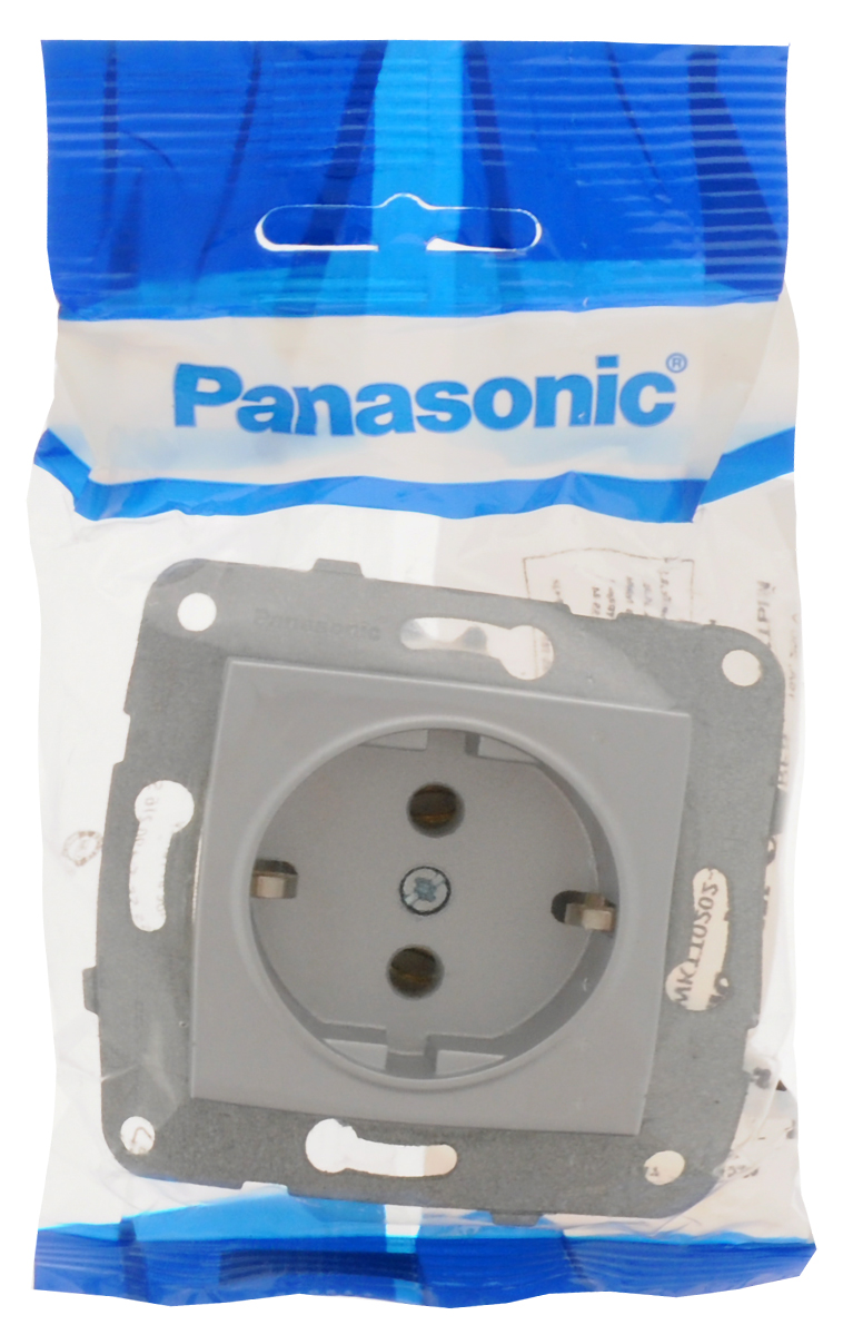 Фото - Розетка Panasonic Karre Plus, одинарная, с заземлением, цвет: серебристый, 16 А. 54877 розетка panasonic karre plus одинарная с заземлением цвет темно серый 16 а 54860