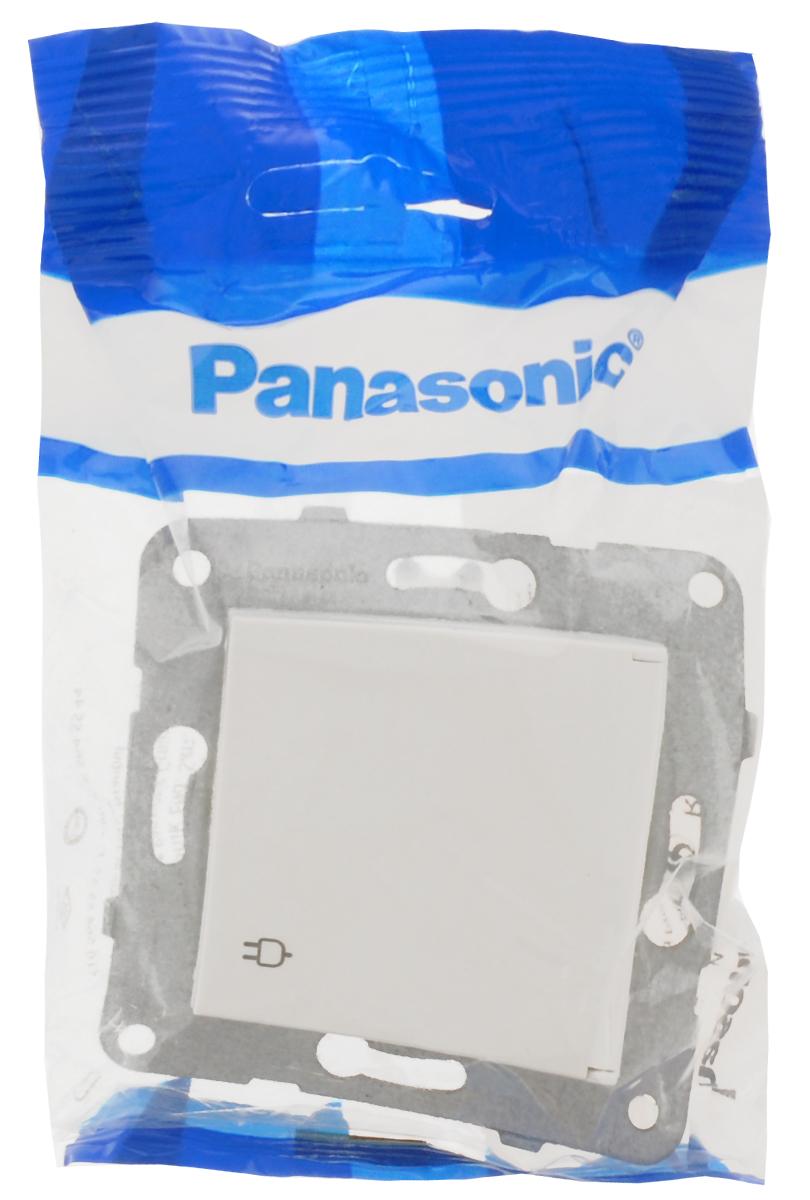 Фото - Розетка-модуль Panasonic Karre Plus, одинарная, с заземлением, с крышкой, цвет: белый, 16 А. 54910 розетка panasonic karre plus одинарная с заземлением цвет темно серый 16 а 54860