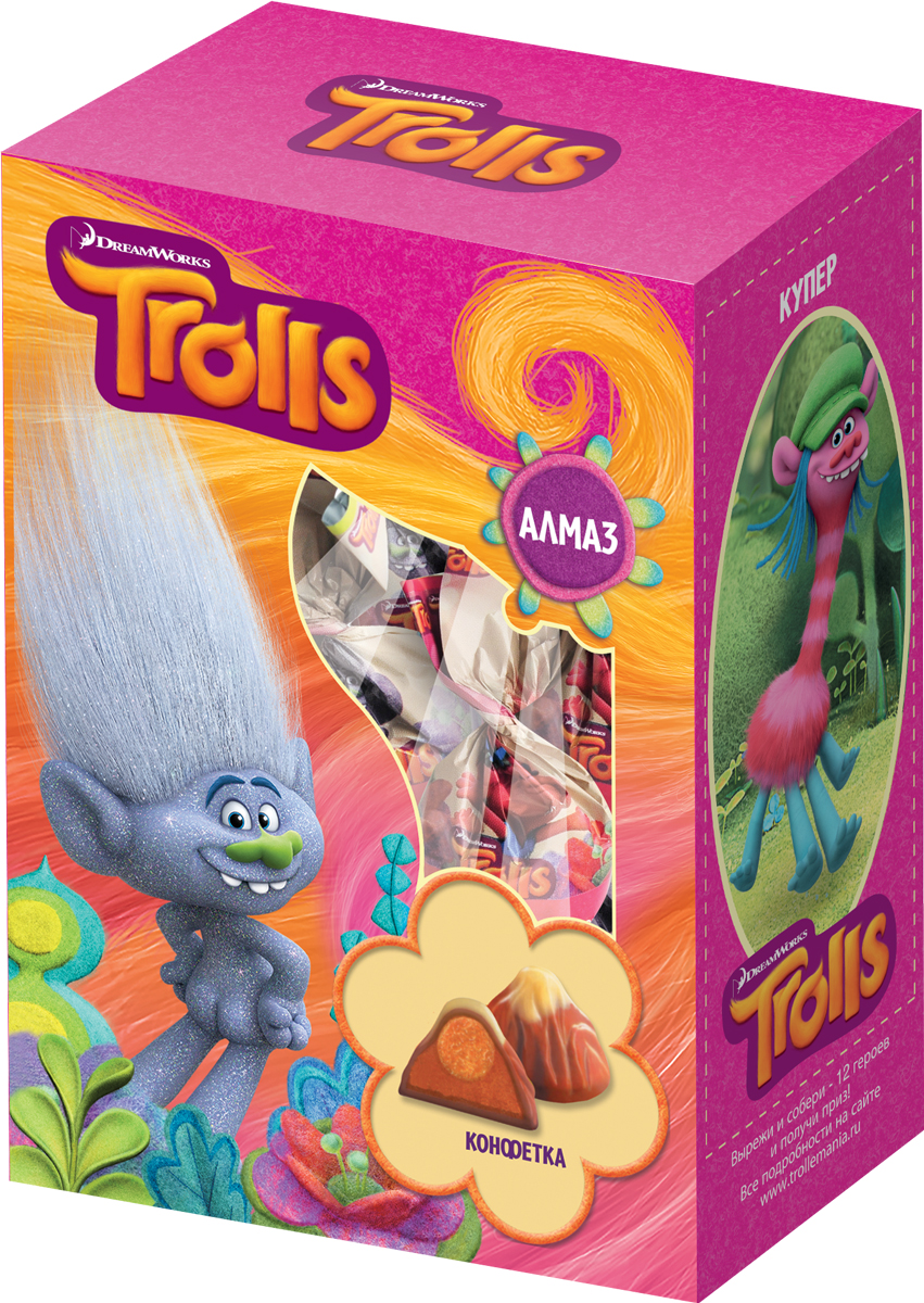 Конфитрейд Trolls набор конфет, 140 г жевательная резинка конфитрейд trolls вкусношарик с начинкой 100 шт по 4 г
