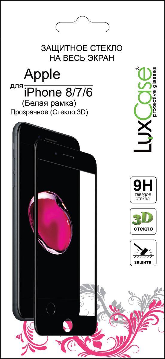 LuxCase защитное 3D стекло для Apple iPhone 6/7/8, White защитное стекло luxcase для apple iphone 8 7 plus back стекло 3d розовое