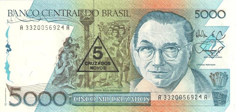 Банкнота номиналом 5 новых крузадо. Бразилия, 1989 год банкнота номиналом 5 новых крузадо бразилия 1989 год