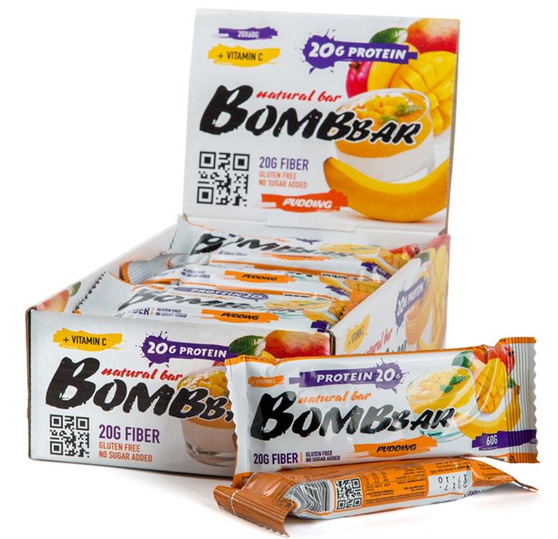 Батончик протеиновый Bombbar, манго, банан, 20 шт х 60 г