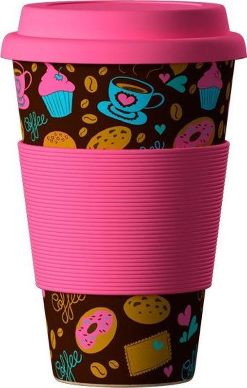 Стакан BambooCup Пончики-Донатс, экологичный, 400 мл кружка дорожная areon bamboocup 280 470