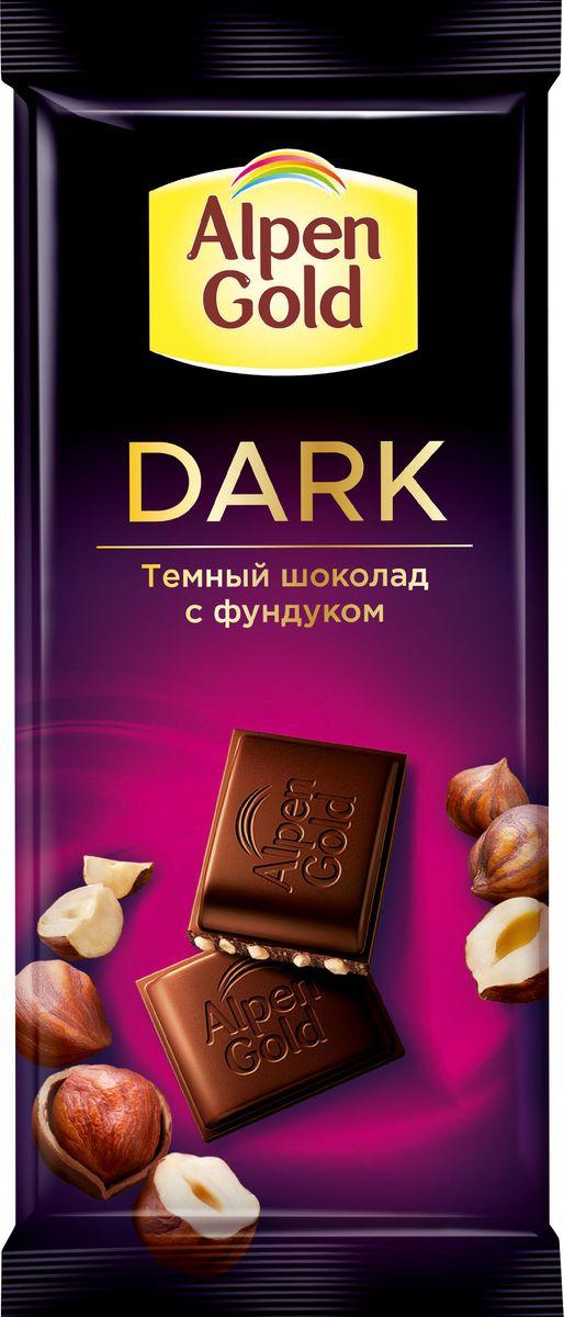 Alpen Gold темный с фундуком шоколад, 85 г alpen gold шоколад с печеньем oreo 95 г