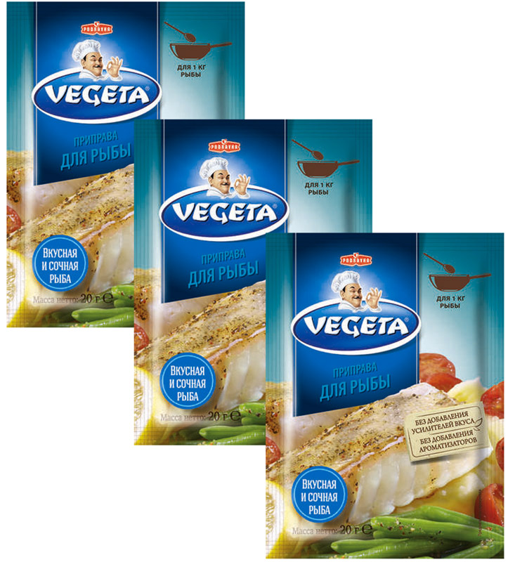 цены Vegeta приправа для рыбы, 3 пакета по 20 г
