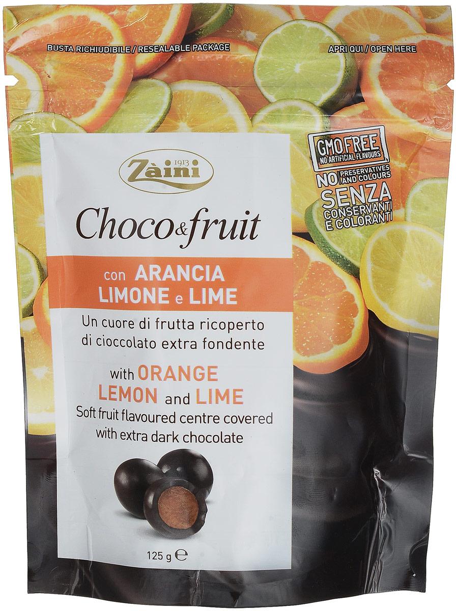 Zaini Choco&Fruit апельсин, лимон и лайм в горьком шоколаде, 125 г zaini choco