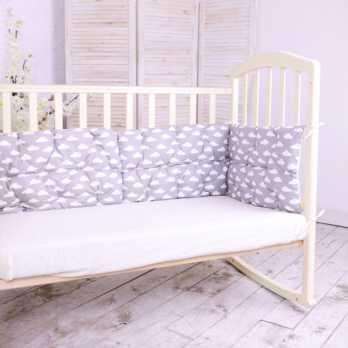 HoneyMammy  Бортики-подушки в кроватку Clouds