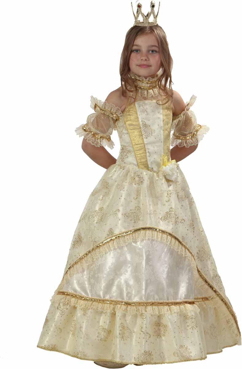 Батик Карнавальный костюм для девочки Золушка-Принцесса цвет золотой желтый белый размер 34 карнавальный костюм батик принцесса золушка размер 28