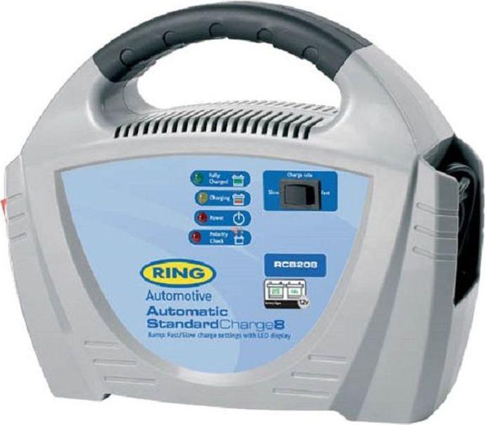 Устройство зарядное Ring Automotive Charger, 12V, 8AmpRECB208Автоматическое зарядное устройство Ring Automotive для свинцово-кислотных и гелевых аккумуляторных батарей 12В снабжено удобной ручкой для переноски. Рекомендуется для АКБ емкостью 20-120Ач. - Защита от обратной полярности. - Встроенный индикатор - вольтметр/амперметр. - Два режима зарядки - быстрый 8А и медленный 3А. - Зажимы типа крокодил и кабель питания убираются внутрь прибора. - Автоматическая работа. - Светодиодные индикаторы зарядки и заряженной батареи.