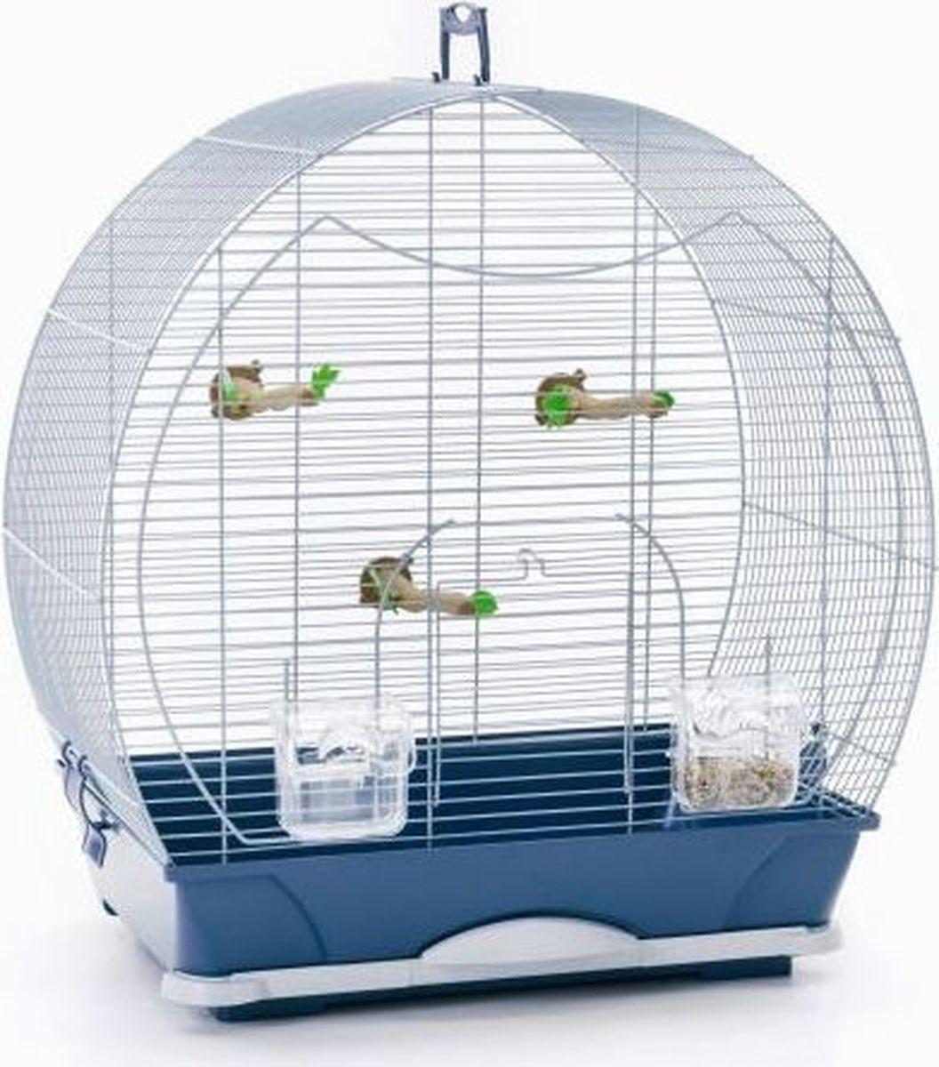 Клетка для птиц Savic Evelyne, цвет: серебристый, голубой, 52 х 32,5 х 55 см цена