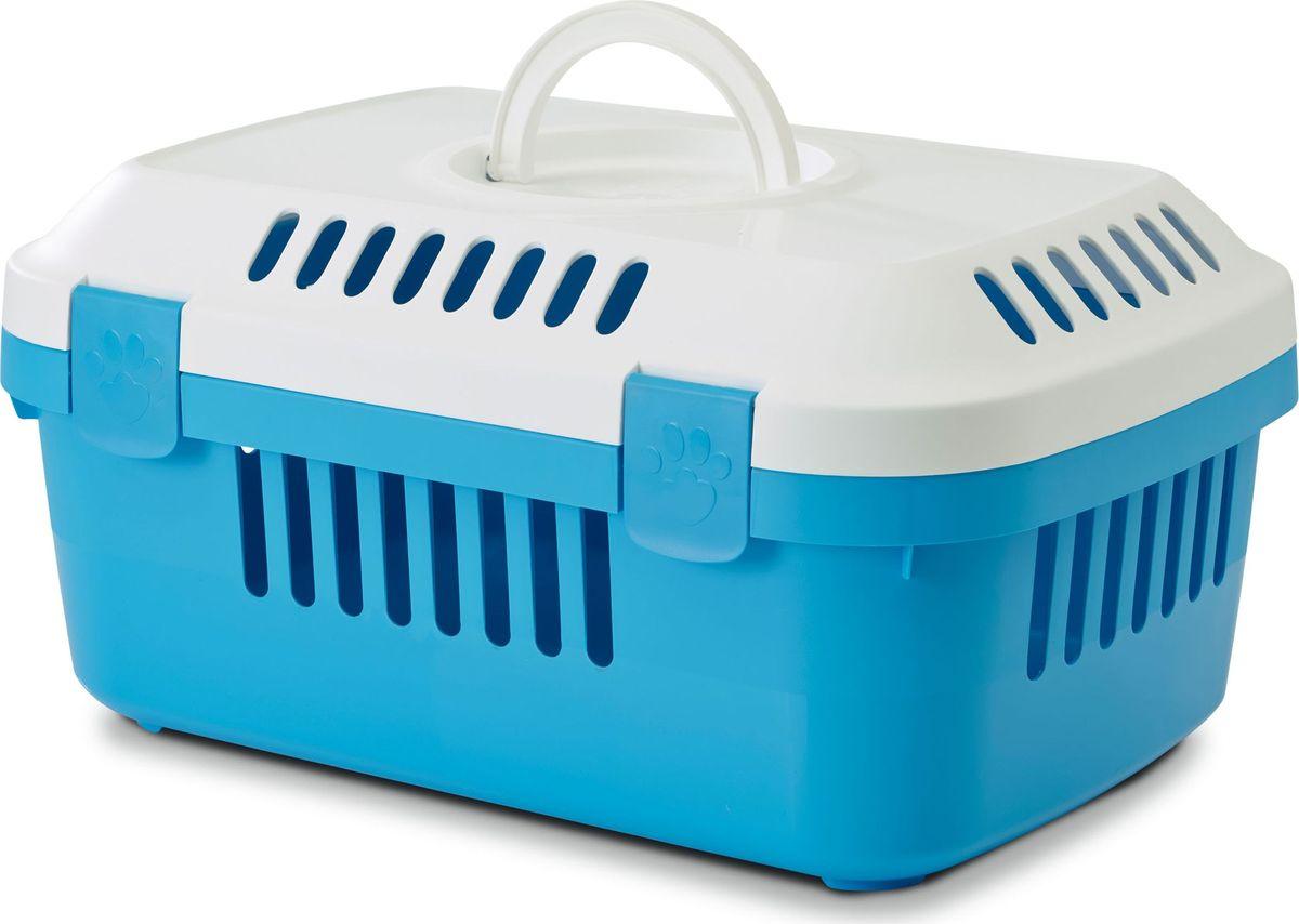 Переноска для животных Savic Discovery Compact, цвет: белый, голубой, 33 х 48,5 х 23,5 см переноска клетка для животных savic cottage цвет черный 76 х 49 х 55 см