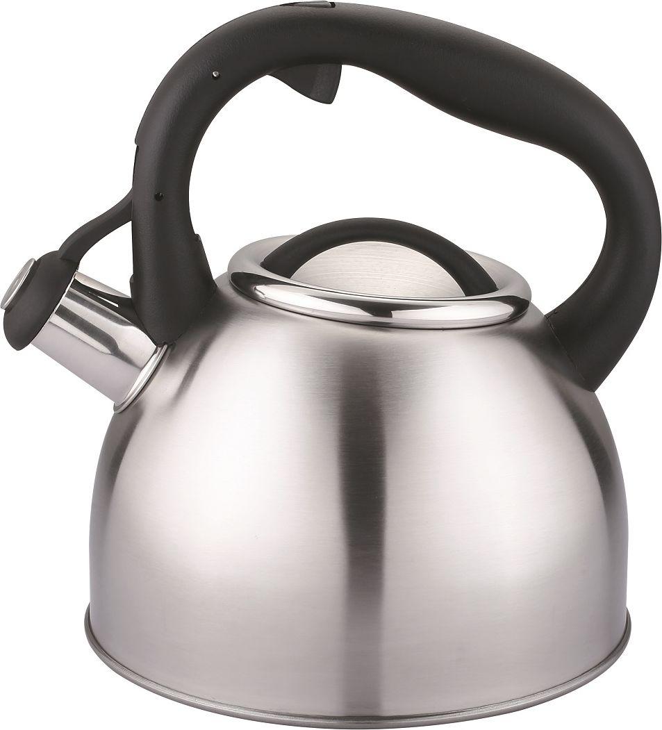 Чайник Cs-Kochsysteme Bonn, со свистком, цвет: серый металлик, 2,5 л чайник carl schmidt sohn aquatic со свистком цвет серый металлик 5 л