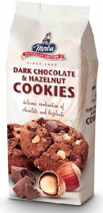 Merba Печенье с горьким шоколадом и фундуком, 200 г merba печенье с клюквой и белым шоколадом 200 г