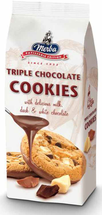 Merba Печенье три шоколада, 200 г merba печенье с клюквой и белым шоколадом 200 г