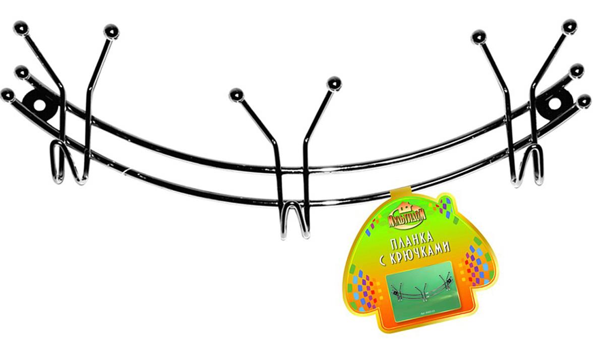 Фото - Планка кухонная Мультидом Дуга, с 3 крючками, длина 29 см планка с 2 крючками мультидом цвет в ассортименте