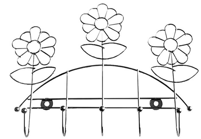 Планка кухонная Мультидом Ромашка, с 5 крючками, длина 24 см штопор мультидом an57 2