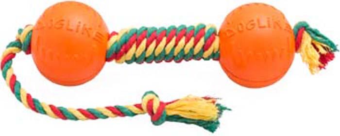Игрушка для собак Doglike Канатная гантель, малая, цвет: красный, желтый, зеленый, длина 50 см, диаметр 7 см игрушка doglike гантель большая канат желтый зеленый красный для собак d 2368ygr