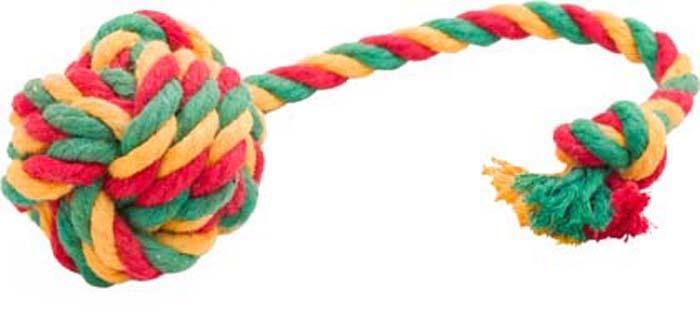 Игрушка для собак Doglike Канатный мяч, средний, цвет: красный, желтый, зеленый, длина 35 см, диаметр 7 смD-2357-YGRИгрушка Doglike Канатный мяч служит для массажа десен и очистки зубов от налета и камня, а также снимает нервное напряжение. Игрушка изготовлена из перекрученных хлопковых веревок. Она прочная и может выдержать огромное количество часов игры. Это идеальная замена косточке. Если ваш пес портит мебель, излишне агрессивен, непослушен или страдает излишним весом то, скорее всего, корень всех бед кроется в недостаточной физической и эмоциональной нагрузке. Порадуйте своего питомца прекрасным и качественным подарком.