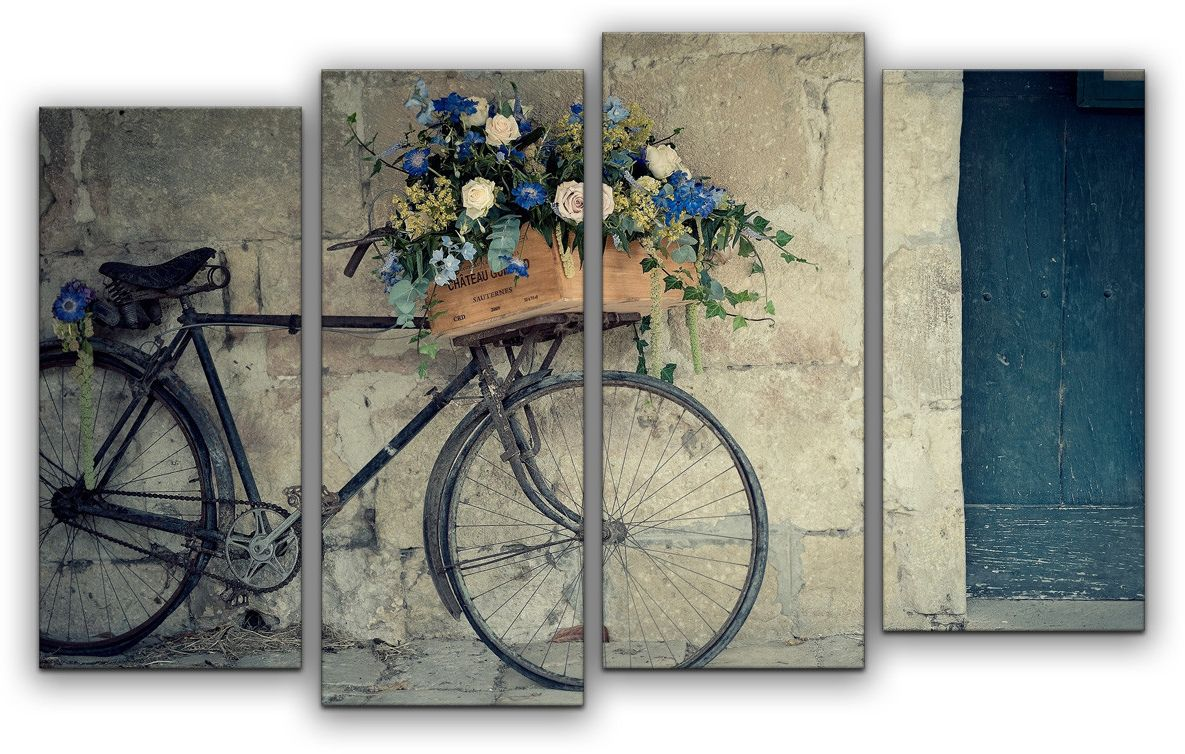 Картина модульная Картиномания Велосипед флориста, 120 x 77 см, Дерево, Холст