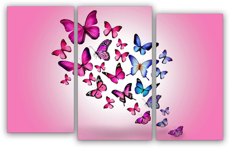 Картина модульная Картиномания Розовые бабочки, 120 x 77 см, Дерево, Холст