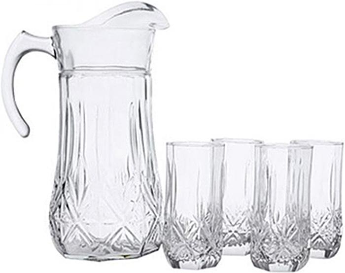 Набор питьевой Luminarc Брайтон, 7 предметов61955Питьевой набор Luminarc Florine состоит из 6 стаканов и графина. Изделия выполнены из высококачественного прочного стекла и оформлены рельефным узором. Набор прекрасно подходит для сока, воды, лимонада и других напитков. Изделия устойчивы к повреждениям и истиранию, в процессе эксплуатации не впитывают запахи и сохраняют первоначальные краски. Можно мыть в посудомоечной машине. Объем кувшина: 1,8 л. Диаметр кувшина по верхнему краю: 10,5 см. Высота кувшина: 26,5 см. Объем стакана: 310 мл. Диаметр стакана по верхнему краю: 6 см. Высота стакана: 13,5 см.