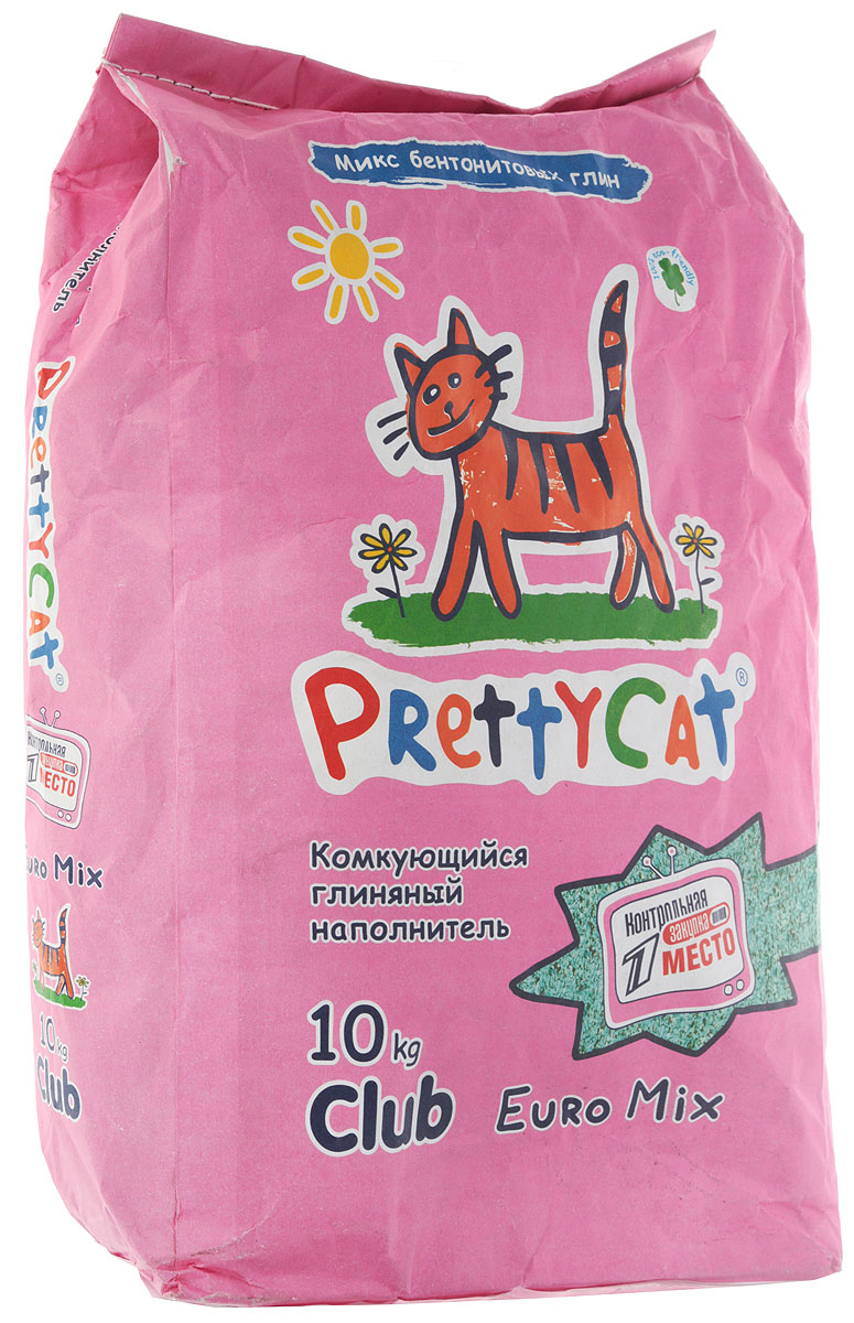 Наполнитель для кошачьего туалета PrettyCat Euro Mix, комкующийся, 10 кг Уцененный товар (№2)