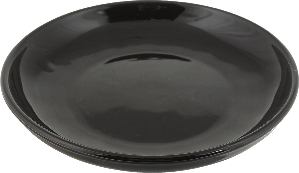 """Тарелка Борисовская керамика """"Радуга"""", цвет: темно-коричневый, диаметр 18 см"""