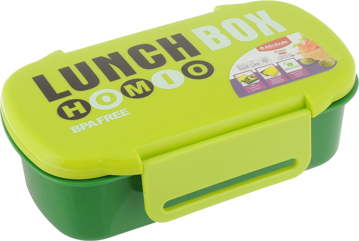 """Ланч-бокс Attribute """"Homio"""", цвет: зеленый, салатовый, 740 мл"""