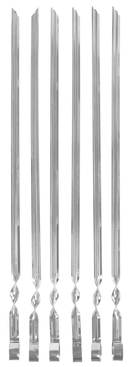 Набор усиленных шампуров Grillkoff, в чехле, длина 50 см, 6 шт спички для угля grillkoff длина 9 см 20 шт