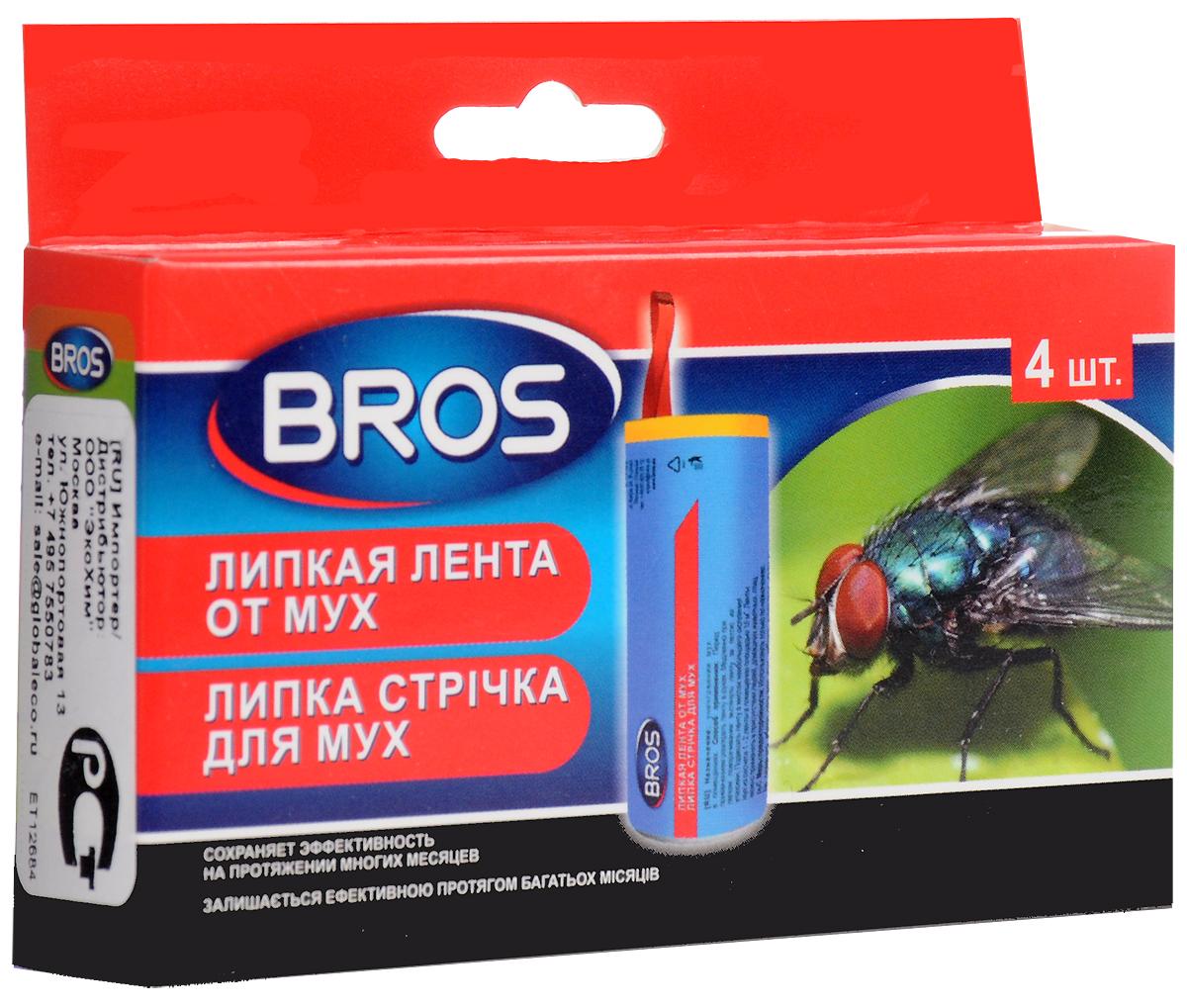 Лента липкая от мух Bros, 4 шт лента липкая от мух bros 4 шт