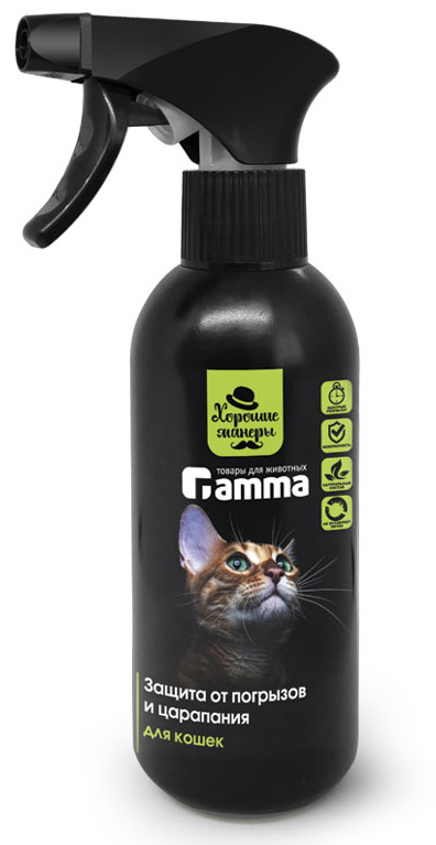 Защита от погрызов и царапания для кошек Gamma Хорошие манеры, спрей, 250 мл спрей для приучения к месту mr fresh для кошек 200 мл