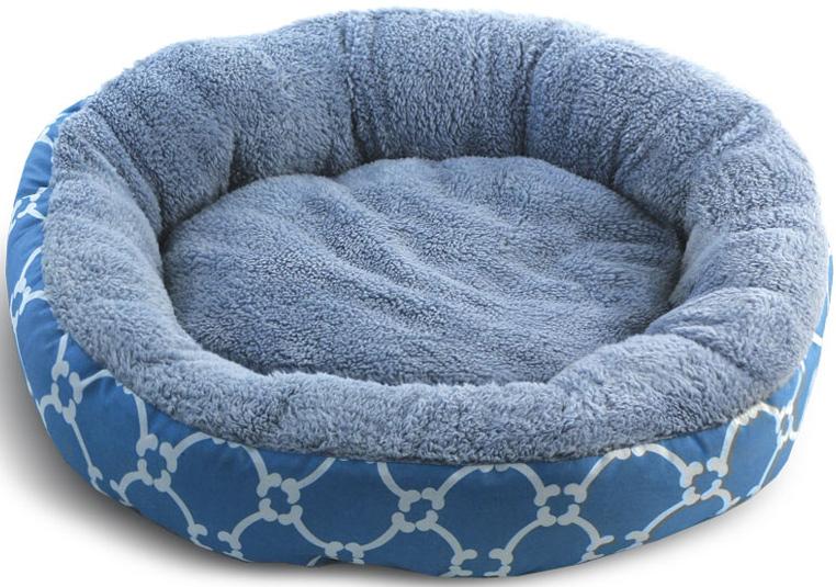"Лежанка для животных Triol ""Лазурный берег"", круглая, цвет: голубой. Размер S, 53 x 53 x 10 см"