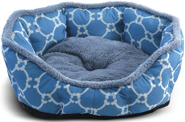 """Лежанка для животных Triol """"Лазурный берег"""", овальная, цвет: голубой. Размер L, 70 x 65 x 14 см"""