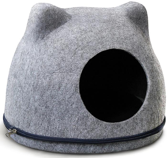 """Домик для кошек Triol """"Кошкин дом"""", цвет: серый, 34 x 43 x 34 см"""