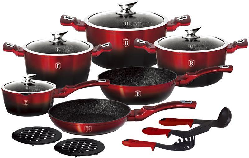 Набор посуды Berlinger Haus Metallic Line, с антипригарным покрытием, цвет: красный, черный, 15 предметов набор сундучков roura decoracion 26 х 20 х 15 см 2 шт 34791