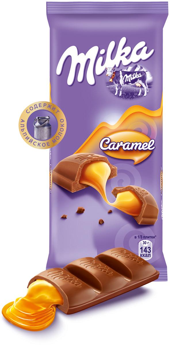 Milka шоколад молочный с карамельной начинкой, 90 г milka