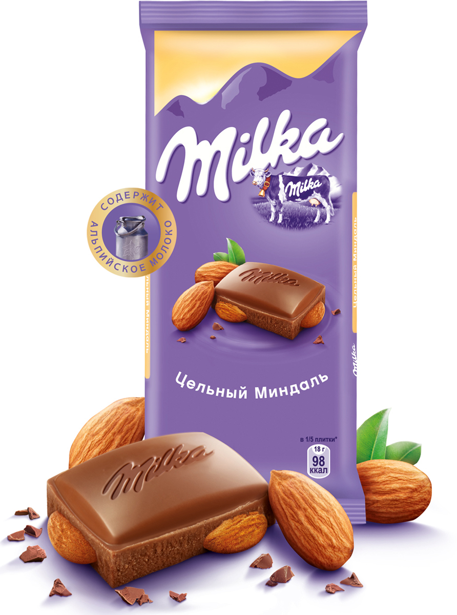 Milka шоколад молочный с цельным миндалем, 90 г стоимость