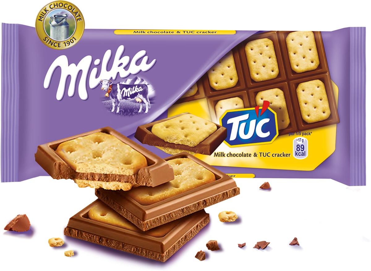 Milka шоколад молочный с соленым крекером Tuc, 87 г milka шоколад daim молочный шоколад с кусочками миндальной карамели 100 г