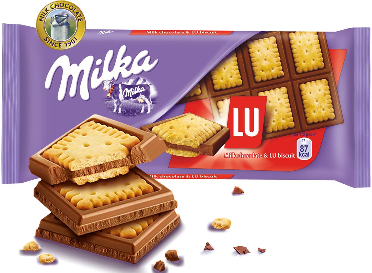 Milka шоколад молочный с печеньем Lu, 87 г milka шоколад daim молочный шоколад с кусочками миндальной карамели 100 г