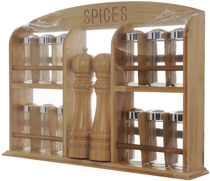 Набор для специй Oriental way, 15 предметов. BS4042RYD2843-8Набор для специй Oriental way, изготовленный из бамбука, прекрасно впишется в интерьер вашей кухни. В комплект входят: 12 баночек для специй, мельница для специй, солонка и полка. Баночки для специй имеют надежно завинчивающиеся крышки и перфорированные накладки, позволяющие удобно приправлять блюда специями, не опасаясь рассыпать их. Характеристики: Материал: бамбук, стекло. Размер полки: 45 см х 7,5 см х 31 см. Высота баночки для специй: 9,5 см. Диаметр баночки для специй: 4,5 см. Высота солонки и мельницы: 20 см. Размер упаковки: 46 см х 31,5 см х 8 см. Артикул: BS4042. Рекомендуем!