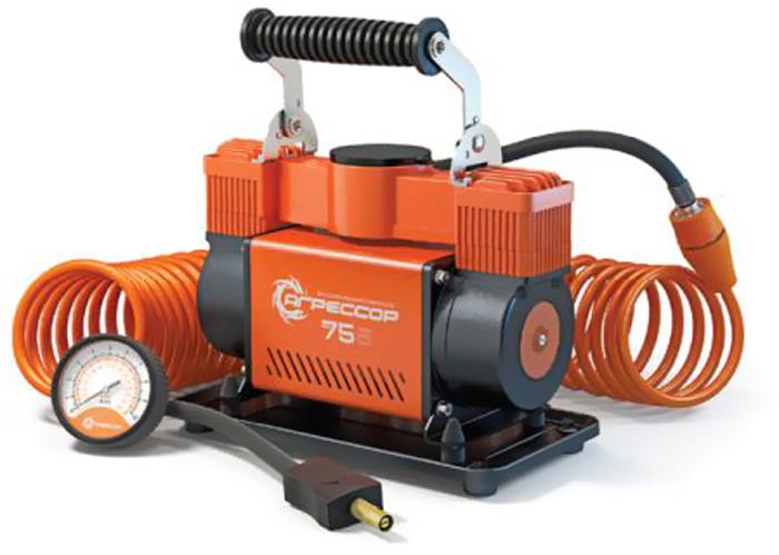 Компрессор автомобильный Агрессор AGR-75, металлический, двухпоршневой, производительность 75 л/мин, 12В, 300Вт