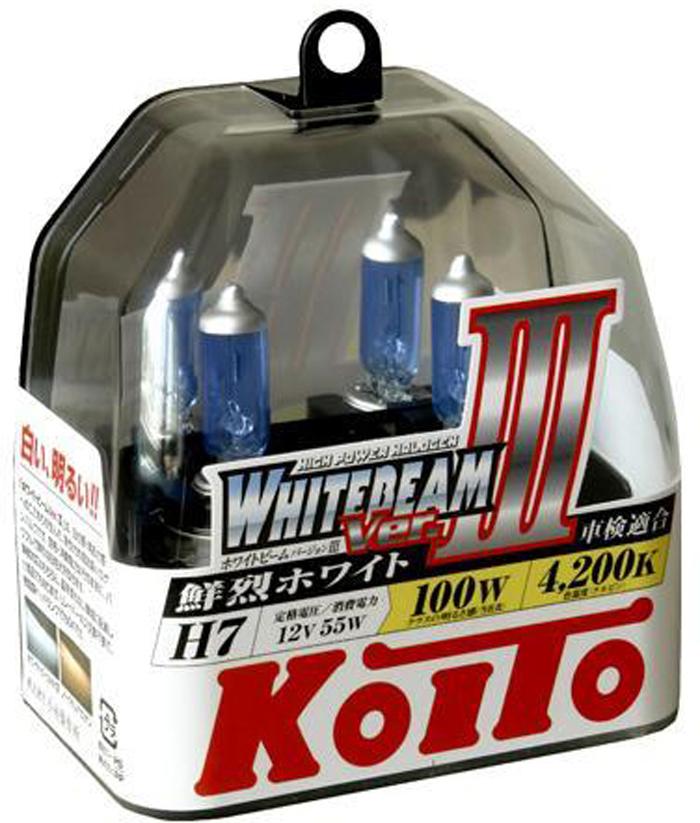 """Лампа высокотемпературная Koito """"Whitebeam"""", H7, 12V, 55 Вт, 100 Вт, 2 шт"""