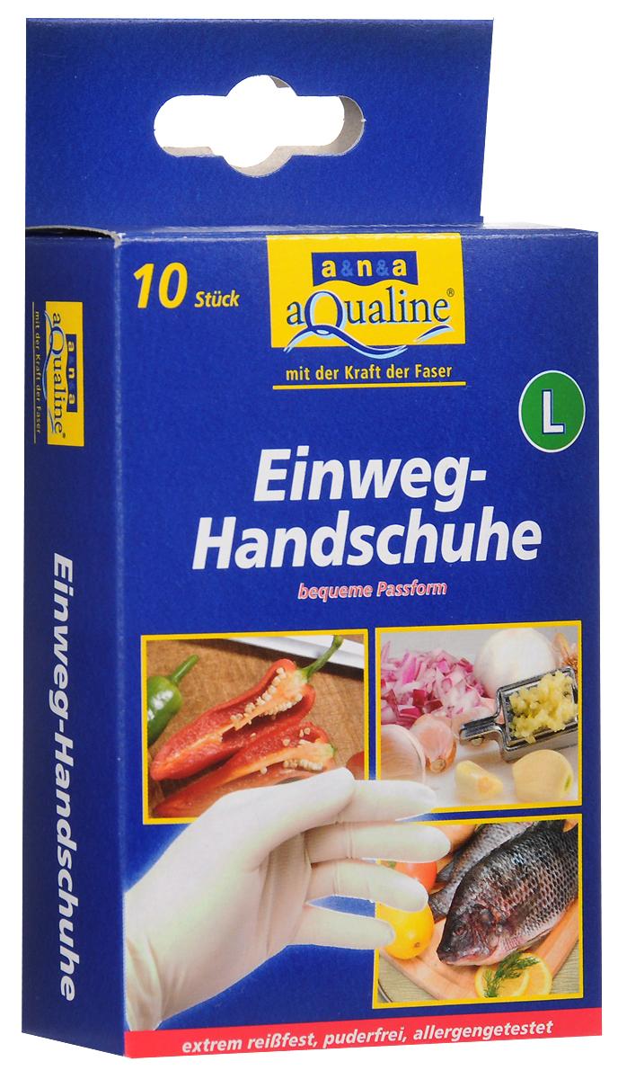 """Набор одноразовых перчаток """"Aqualine"""", размер: L, 10 шт"""