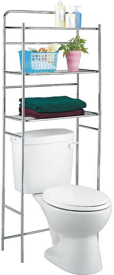 "Полка для туалета Tatkraft ""Tanken"", 3-х ярусная, цвет: серебристый, 59,5 см х 26 см х 151,5 см"