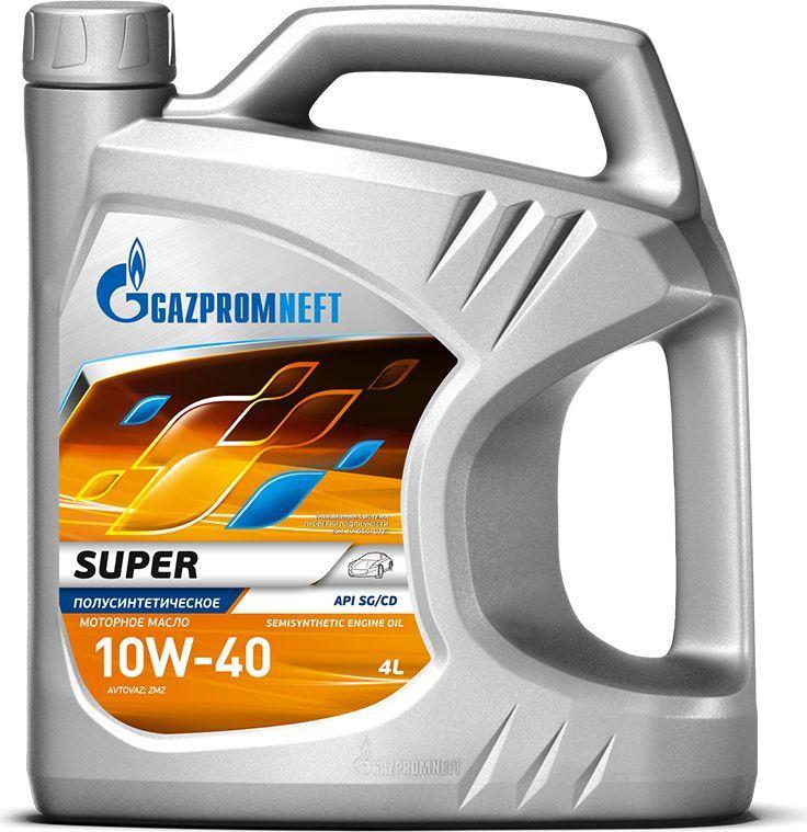 Масло моторное Gazpromneft Super 10W-40,API SG/CD, полусинтетическое, 4 л2389901318Масло моторное Gazpromneft Super 10W-40,API SG/CD производится с использованием высококачественных базовых масел и сбалансированного пакета присадок. Масло обладает увеличенным сроком службы и сниженным расходом масла на угар. Хорошие вязкостно-температурные характеристики обеспечивают надежный пуск холодного двигателя, быструю подачу масла к узлам трения в зимний период эксплуатации, а также эффективное смазывание деталей двигателя при рабочих температурах. Обладает высокой термической и противоокислительной стабильностью. Имеет улучшенные противоизносные свойства, минимальную склонность к образованию отложений и шлама. Обеспечивает защиту деталей двигателя от отложений, износа и коррозии при соблюдении рекомендованных сроков замены масла.