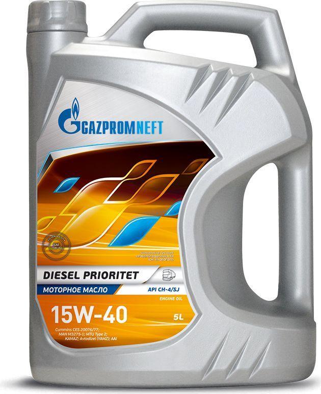 """Масло моторное Gazpromneft """"Diesel Prioritet"""", 15W-40, API CH-4/SJ, ACEA E7, A3/B4, минеральное, 5 л"""
