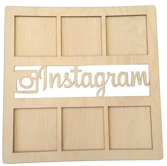 Заготовка для декорирования Decoriton Рамка Instagram, 37 х 0,6 х 37 см набор заготовок для декорирования decoriton подвески елочные медальоны набор 5 фанера 0 3см высота 5см