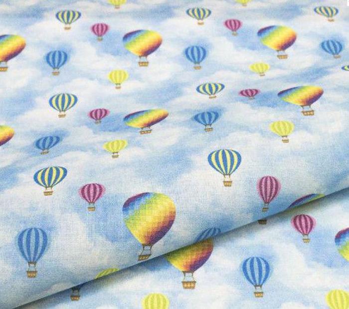 """Ткань Кустарь """"Детские фантазии №4"""", цвет: голубой, желтый, синий, сиреневый, 48 х 50 см"""