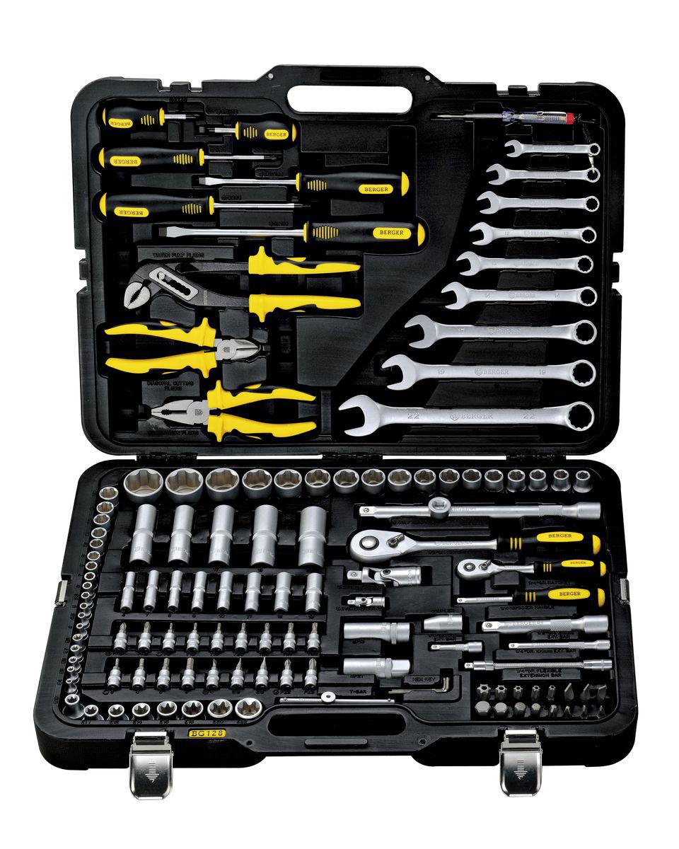 Универсальный набор инструментов Berger, 128 предметов. BG128-1214 набор торцевых головок matrix 6 ти гранных 1 4